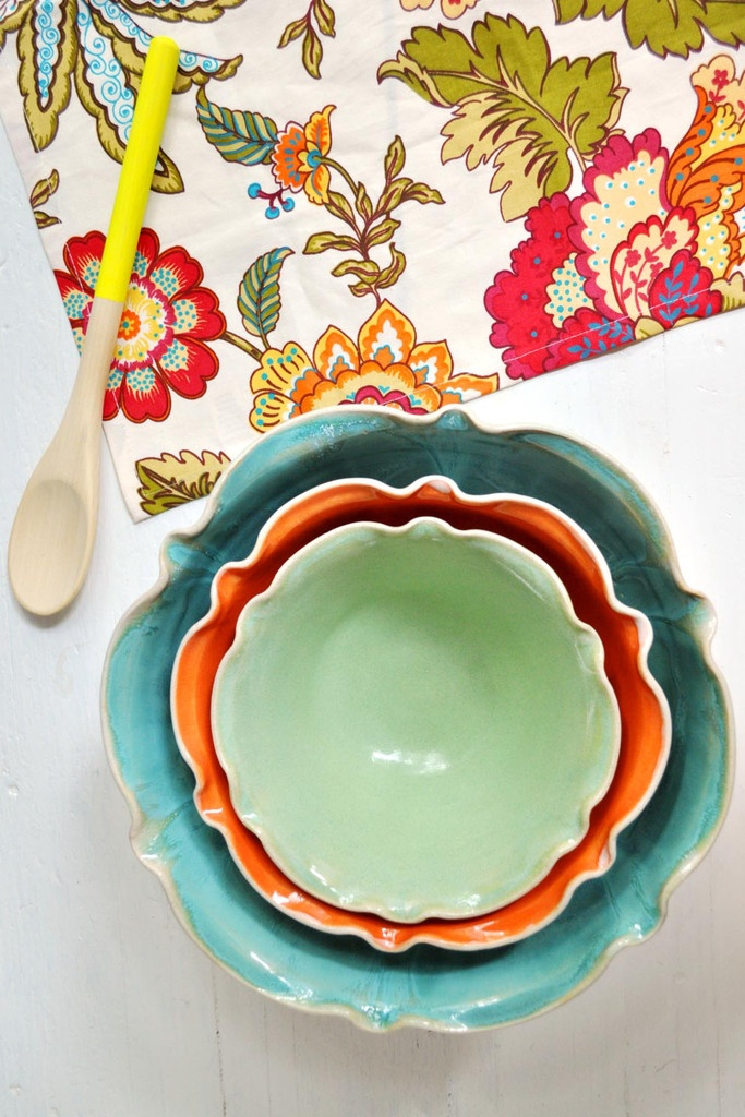 Nesting Bowl Set in Pastel Neon from Lee Wolfe Pottery >> SOOO beautiful, I love this set!!