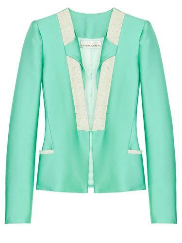 Mint Green Clothing and Accessories - Mint Green Fashion Trend 2012 - Harper's BAZAAR: Green Blazer, Mint Green, Fashion Ideas, Fashion Style, As Blazers, Prabali Gurung, Green Fashion, Fashion Trends, Prabalgurung