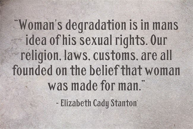 Women's degradation is in man's idea of his sexual rights. Our religion, laws, customs are all founded on the belief that woman was made for man. - Elizabeth Cady Stanton