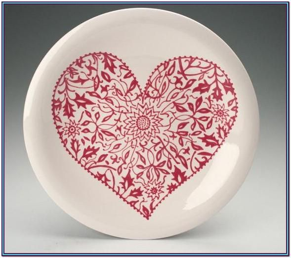 Heart Plate Painting Ideas Floral Painting Wedding Gift Art Hand Painted