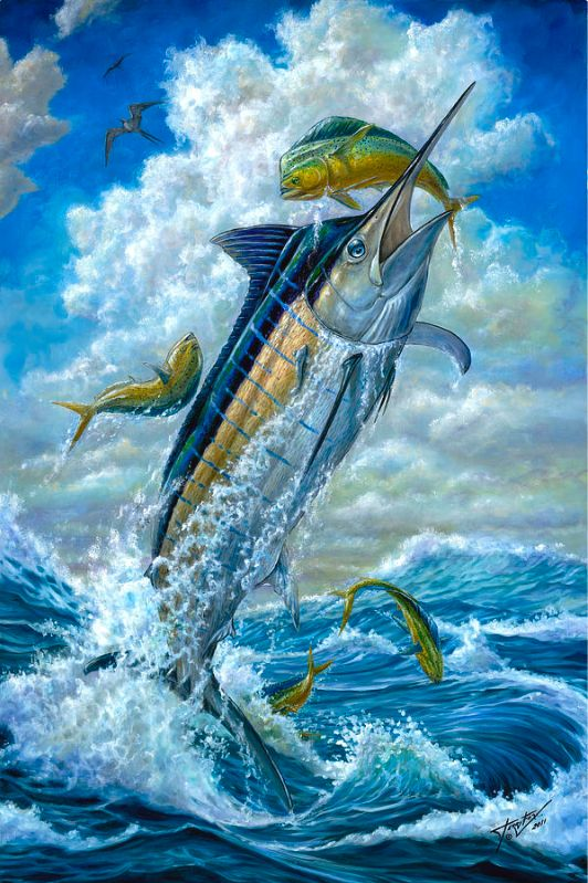 Big Jump Blue Marlin With Mahi Mahi - Terry Fox