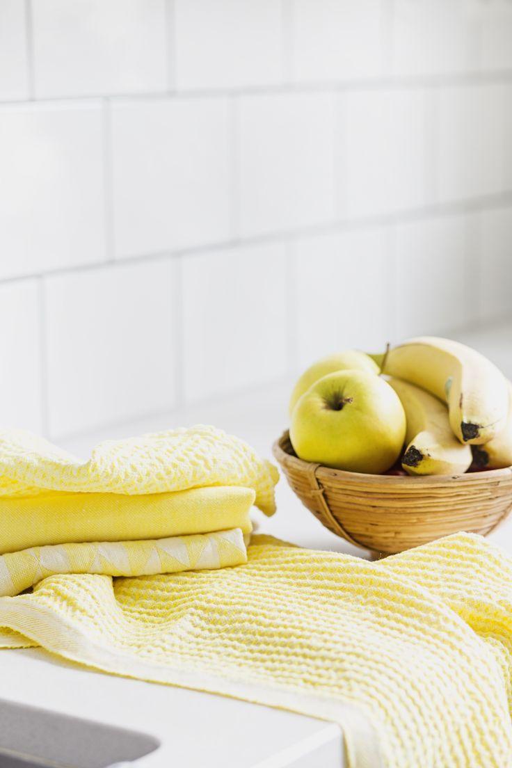 ściereczki kuchenne, lapuankankurit, moaai.com, hafart.pl, len, wiosna, Wielkanoc, żółty kolor, gotowany len