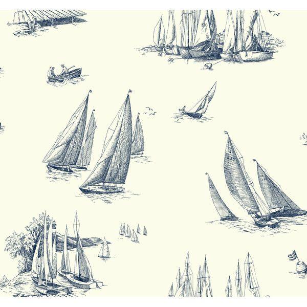 "Found it at Wayfair - Nautical Living Sailboat Toile 27' x 27"" Scenic Wallpaper"