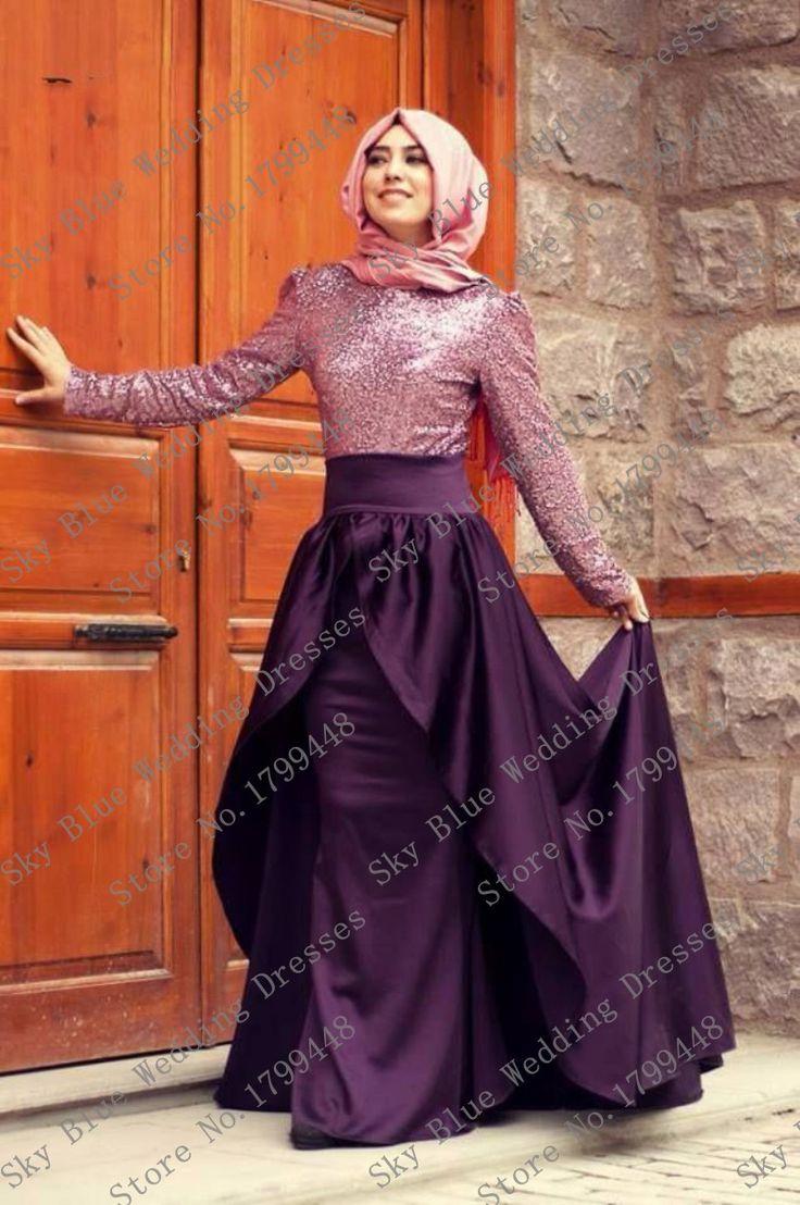 Fast Delivery O-Neck Sequined Mermaid Purple Dubai Abaya turkish jilbab arabic evening dress long sleeve muslim prom dresses