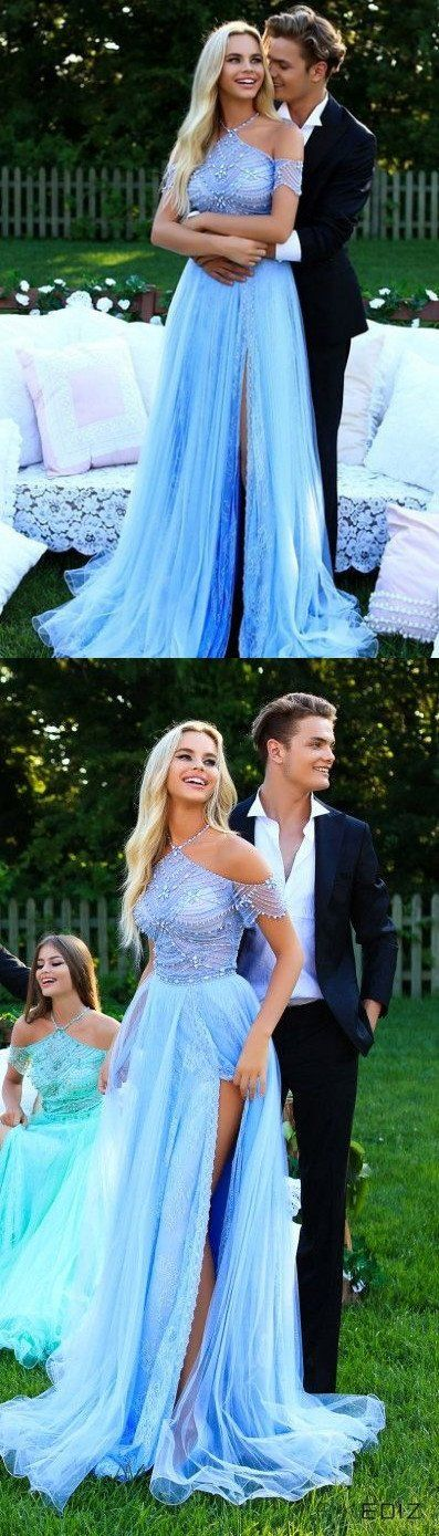 Prom Dresses Split, Unique Prom Dresses,Halter Prom Dress,Sky Blue Prom Dresses,Long Prom Dress with Side Slits,Beading Prom Dress