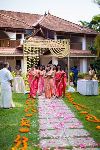 wedding entrance, rustic wedding , south indian wedding ,marigild fowers, flower petal road ,