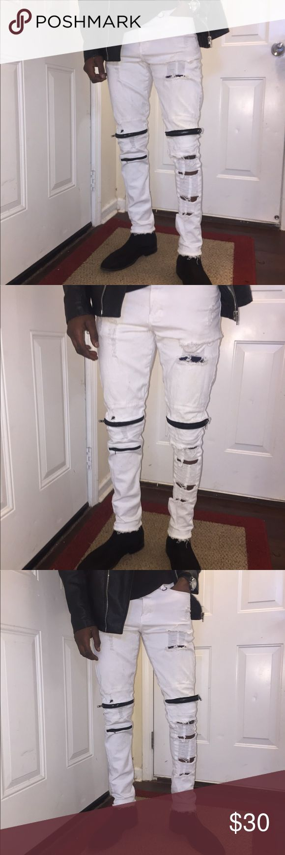 Styled and distressed white Skinny jeans Men's size 30  jeans with some added flavor styled and distressed by your truly Jeans Skinny