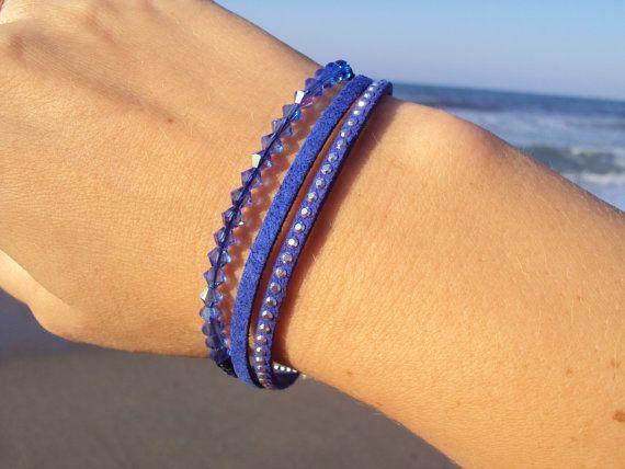Blue Leather bracelet with sparkling Swarovski crystals