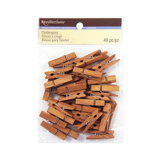 Small Clothespin Embellishments By Recollections™ in Walnut | Michaels®