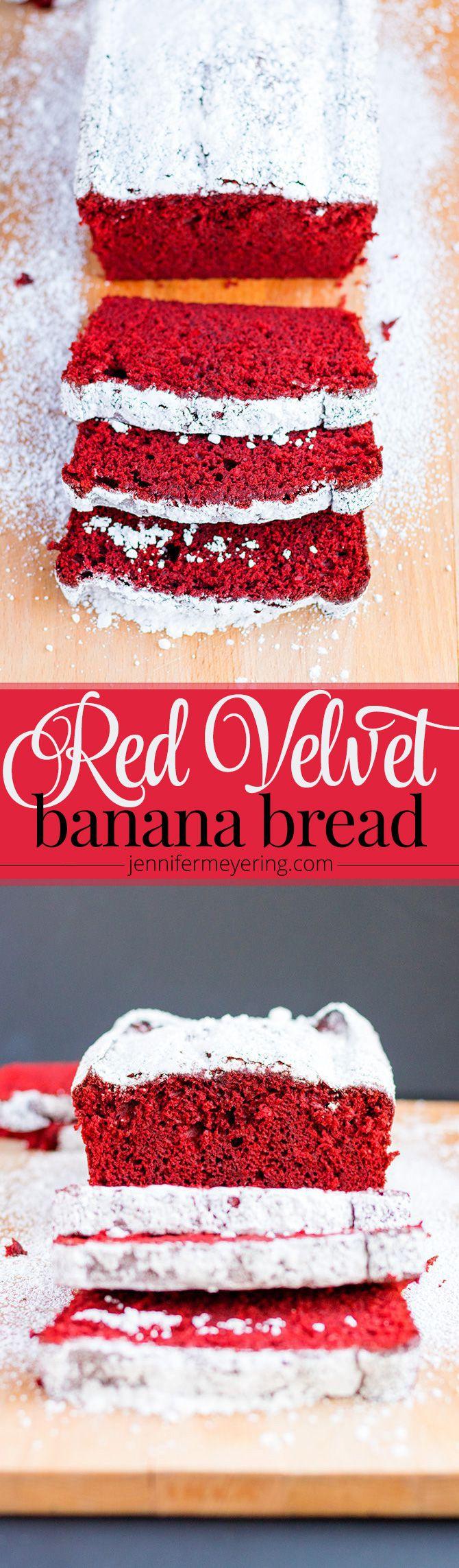 Red Velvet Banana Bread - JenniferMeyering.com                                                                                                                                                                                 More
