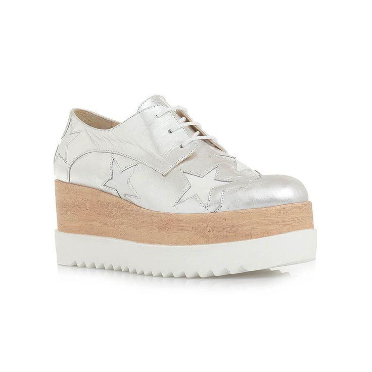 OXFORDS MOD: C11009557 - TSAKIRIS MALLAS Ασημί δερμάτινα παπούτσια τύπου oxford