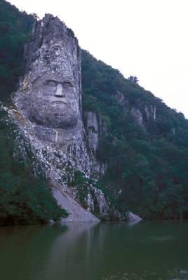 Monument to Dacian King Decebalus on the Danube River, Romania