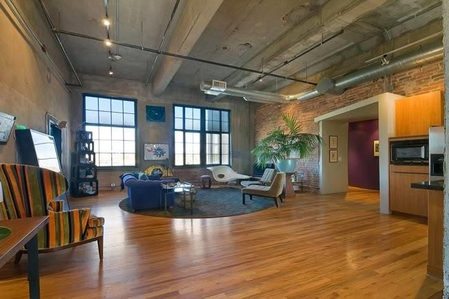 Architecture, Loft Denver Brown Color Natural Decoration Large Shaped Picture Flooring White And Grey Combination Wall And Roofing Window And Chair Grey Color Fur Rug Large Shaped Picture Window ~ The Famous Of Dana Crawford Denver That Can Be Your Inspiration To Make Your Shelves Better