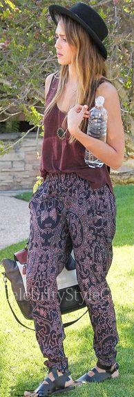 Seen on Celebrity Style Guide: Jessica Alba wore the cathedral print Pants at a birthday party in Los Angeles September 14, 2013