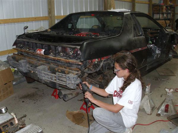 14 year old Kathryn DiMaria, who is currently restoring a 1986 Pontiac Fiero.