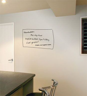 Resene Write-on Wall Paint (instantly transforms ANY wall into a dry erase board... and it dries clear.  AMAZING!!!!!)