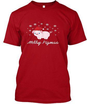 Merry Pigmas Funny Pig Christmas Hanes Tagless Tee T-Shirt