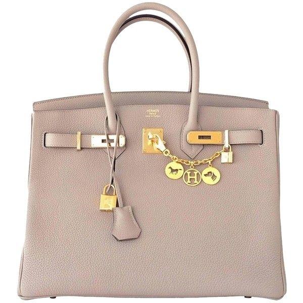 Pre-owned Hermes Gris Tourterelle 35cm Dove Grey Togo Birkin Gold Ghw... (70.440 BRL) ❤ liked on Polyvore featuring bags, handbags, purses, bolsas, hermes, grey, grey tote handbags, gray handbags, gray purse and man bag