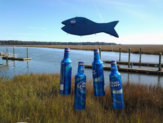 Redneck Wind Chime Bud Lite Cans attached to Blue Fish with Bud Lite caps for eyes