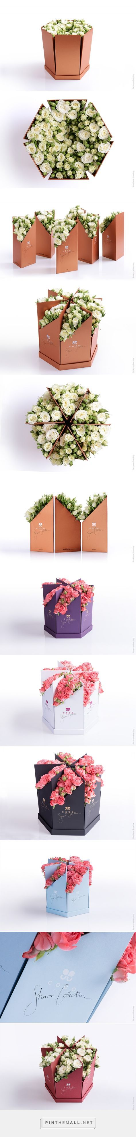 """Calligraphy, graphic design and packaging for Coco Fiori """"Share Collection"""" on Behance by Backbone Branding Yervan, Armenia curated by Packaging Diva PD. A big bouquet of flowers which you can share into parts and present a piece of beauty to the people you love."""