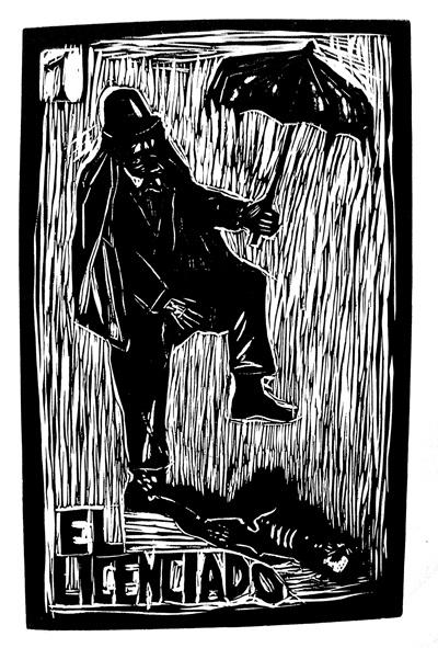 """ El Licenciado"" by Lesly Geovanni Mendoza. http://arrestedmotion.com/. Tags: Linocut, Cut, Print, Linoleum, Lino, Carving, Block, Woodcut, Helen Elstone, Human, Rain."
