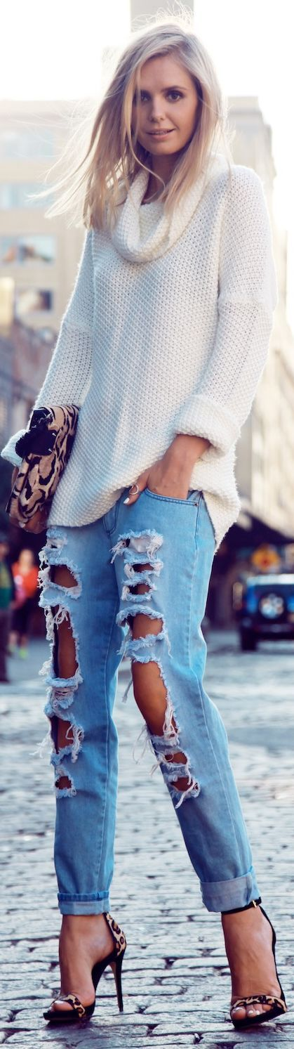 Ripped Jeans & Loose Knitted Neck Sweater