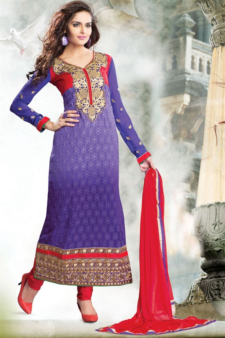Purple, Blue Georgette Straight Semi-Stitched Suit