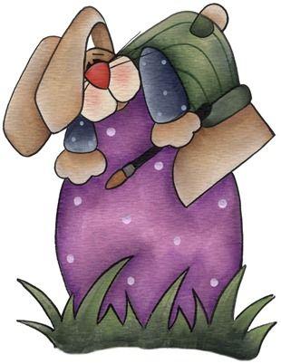clipart imagem decoupage Painting Bunny01