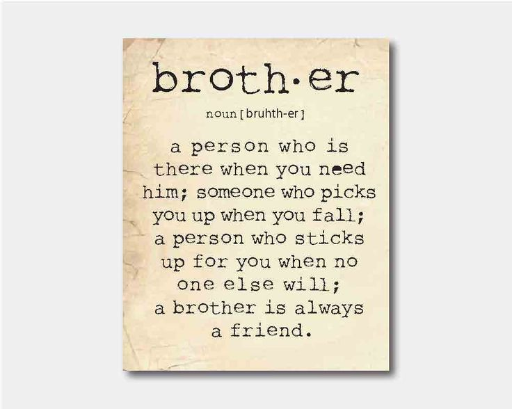 Wall Art - A brother is a person - Brother Quote Inspiration Typography - Room decor - 8 x 10 print on vintage paper or chalkboard. $15.00, via Etsy.