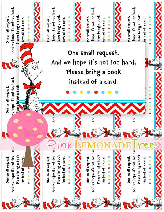Cat in the Hat Book Request Cards, Book instead of a card, Dr. Seuss, DIY, baby shower, birthday on Etsy, $2.50