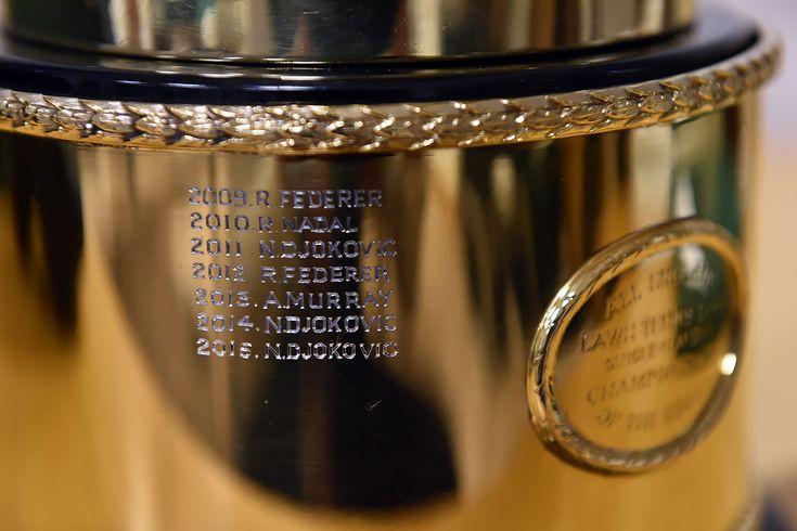 The Gentlemen's Singles Trophy is engraved with Novak Djokovic's name