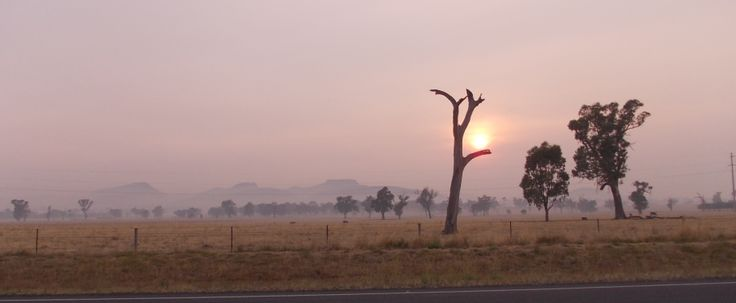 Table Top Mountain, Loka Peak & Pulpit Rock, Yambla Range, Gerogery at sunrise with smoke haze from Victorian bushfires 2014