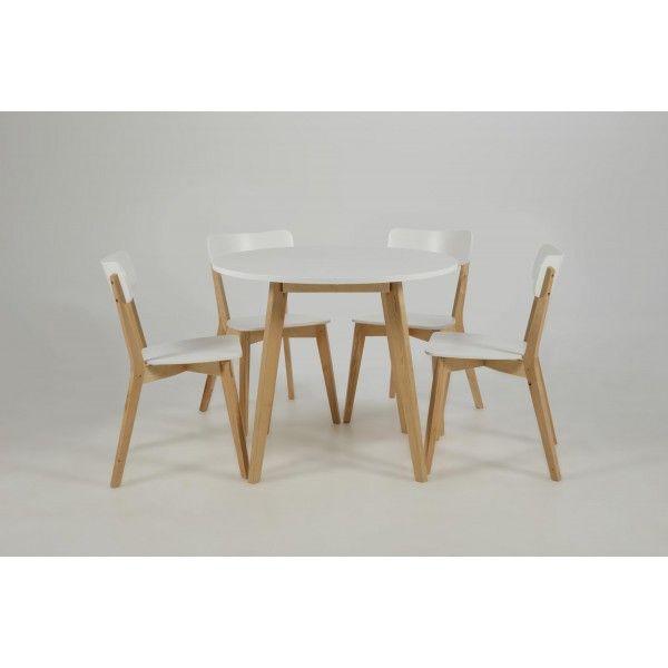 Ronde Eettafel Fox Wit 90 cm + 4 stoelen - DesignOnline24