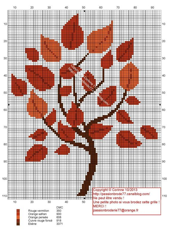 Arbre Automne cross-stitch - free