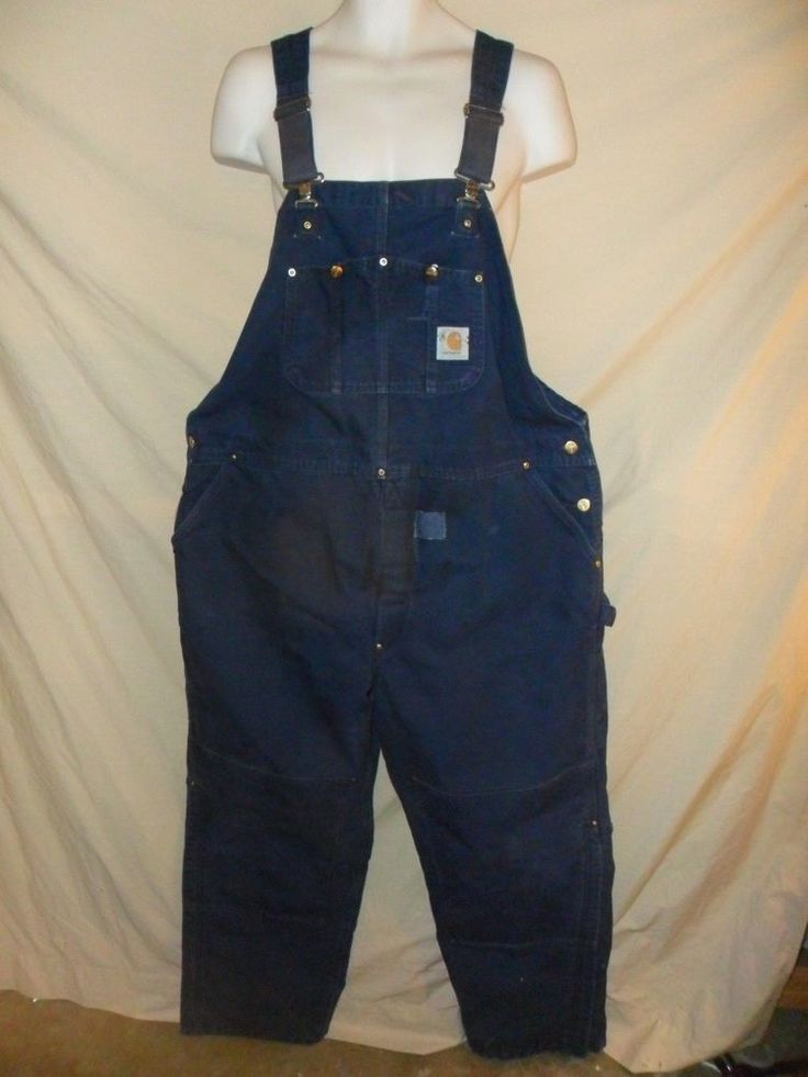 Men's Carhartt Insulated Winter Overalls Blue Carpenter Construction Bibs 44x30 #Carhartt #Overalls