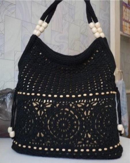 siyah renk boncuklu tığ işi el çantası - Kadın, Giyim, Moda, Sağlık,