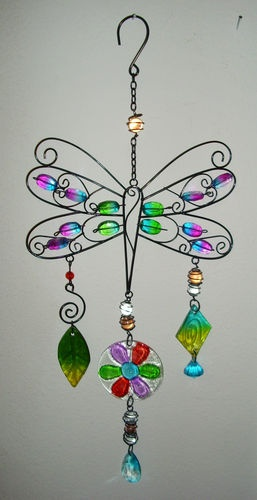 Metal Glass Plastic Beaded Dragonfly Suncatcher Outdoor Safe New | eBay