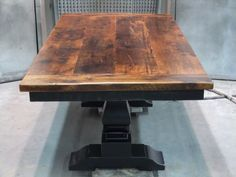 Furniture, Old And Vintage Small Distressed Pedestal Trestle Dining Table Made From Reclaimed Wood And Wooden Base Painted With Black Color Ideas ~ Trestle Dining Table