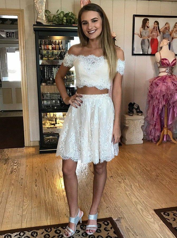 Off schulter kurze 2 stück spitze homecoming dress nette mädchen kurze cockta …   – ♡ Chic Party Dresses ♡