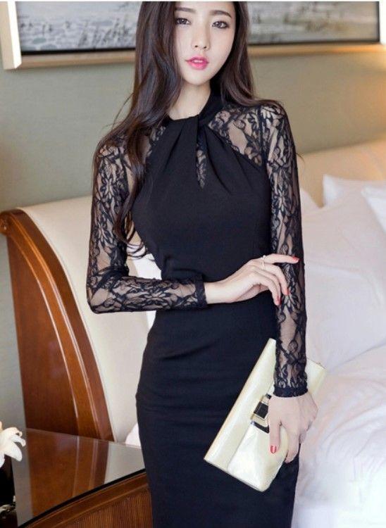 Women's Trendy Black O-Neck Patchwork Knee-Length Long Sleeve Bodycon Dress - 56Q237906