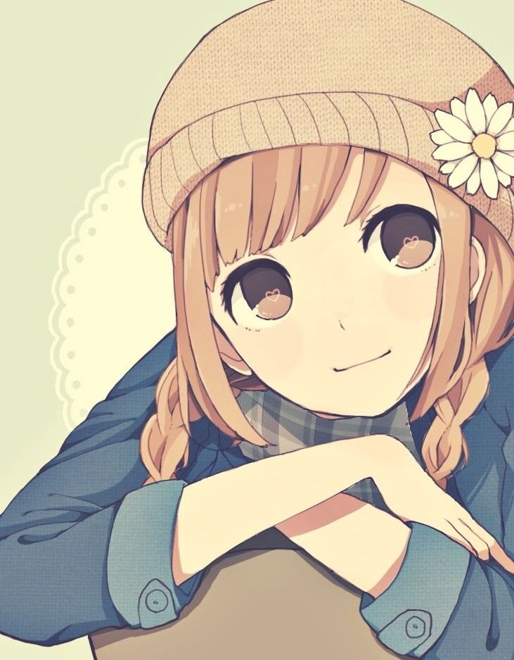 Anime girl with brown hair, brown eyes, blue sleeved shirt, scarf, flower and a hat