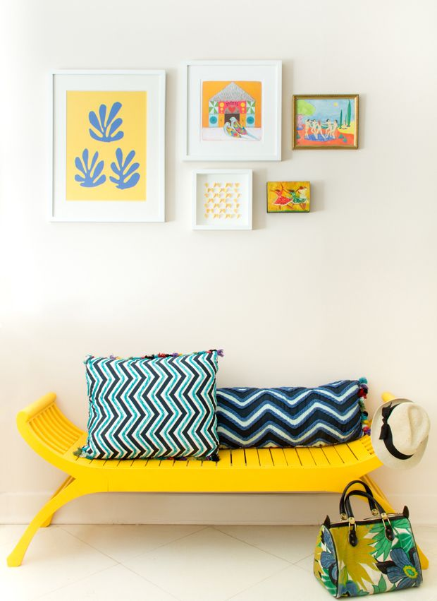 Gallery Wall + Bench in YELLOWS! {photo by Jessica Comingore, Design by Justina Blakeney}: Decor, Interior, Ideas, Sweet, Painted Furniture, Color, Yellow Bench, Design, Justina Blakeney