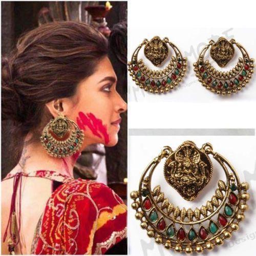 Indian bollywood Earring Temple Design Laxmi Goddess Ram Leela Polki jewelry #VGJewel