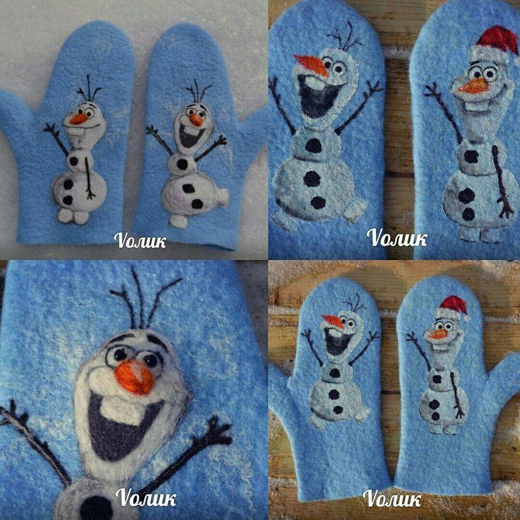 Рукавички с снеговиком