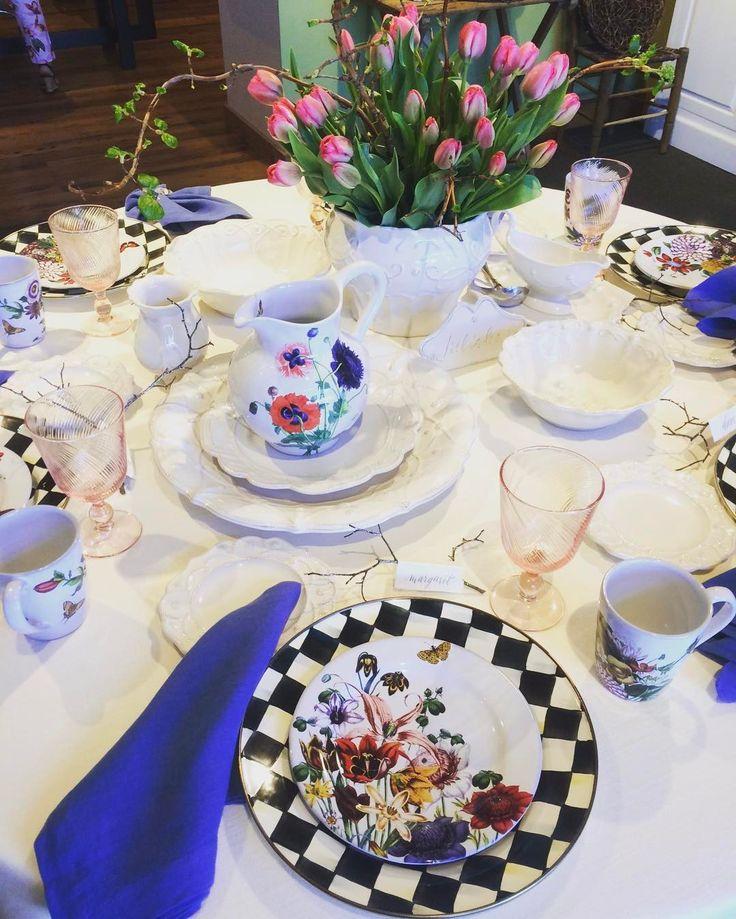 #Spring setting ideas! A bit of Juliska, McKenzie-Childs, and #tulips... #latergram