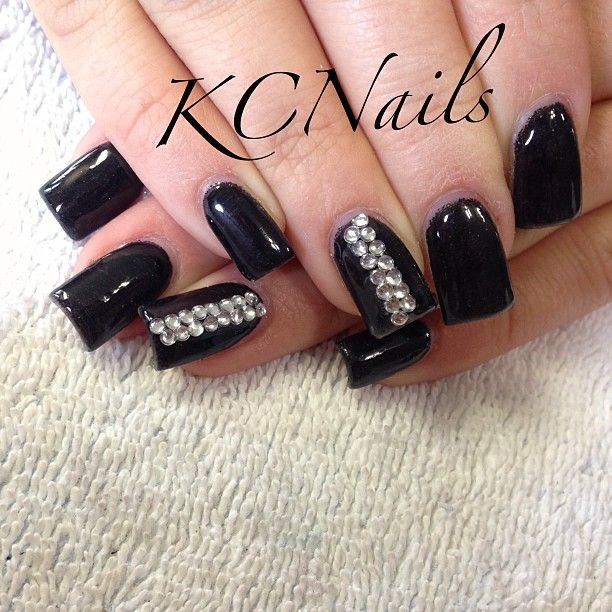 Classy Black Acrylic Nails With Rhinestones. 3D Nail Art