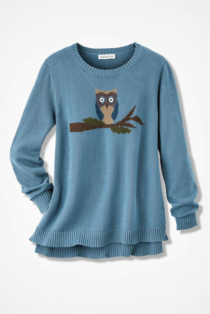 Wise Eyes Owl Sweater - Coldwater Creek