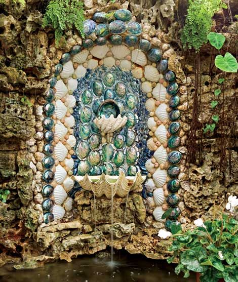 Romantic seashell fountain from Abalone, Paua seashells and huge 2 Tridacna shells.