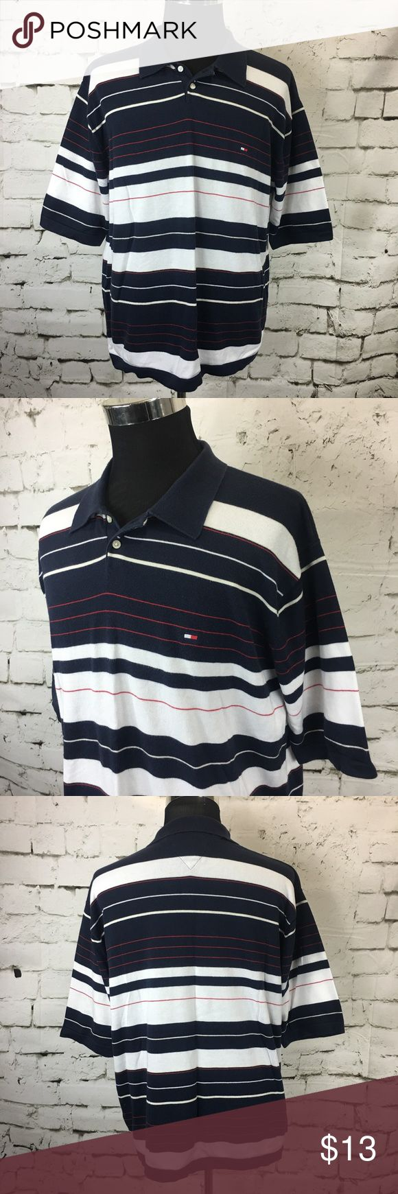 TOMMY HILFIGER Striped Cotton Polo Shirt VTG TOMMY HILFIGER Men's BLUE RED WHITE Striped Cotton Polo Shirt Size XXL  Nice Pre-Owned Condition, No Stains, No Holes 