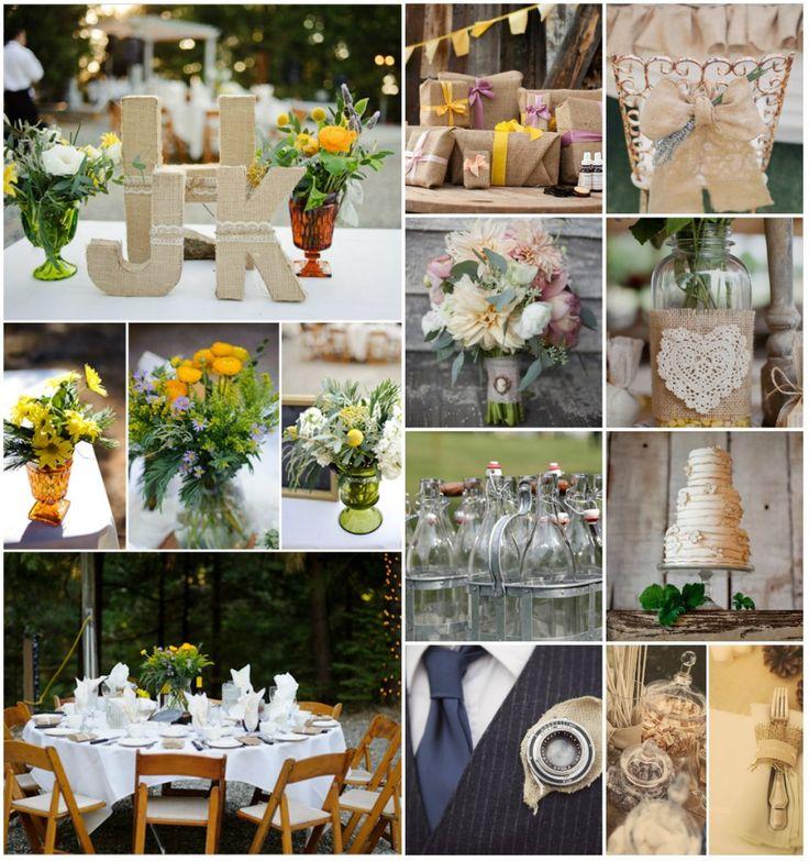 Style champ tre id es du mariage vintage avec la toile de jute all t - Deco buffet champetre ...